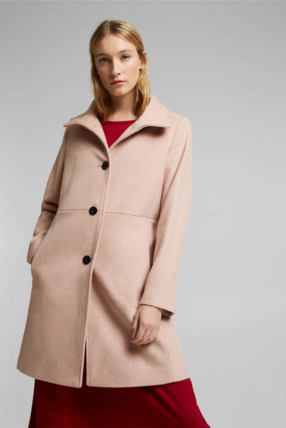Esprit - Made of blended wool: Coat with a stand-up collar