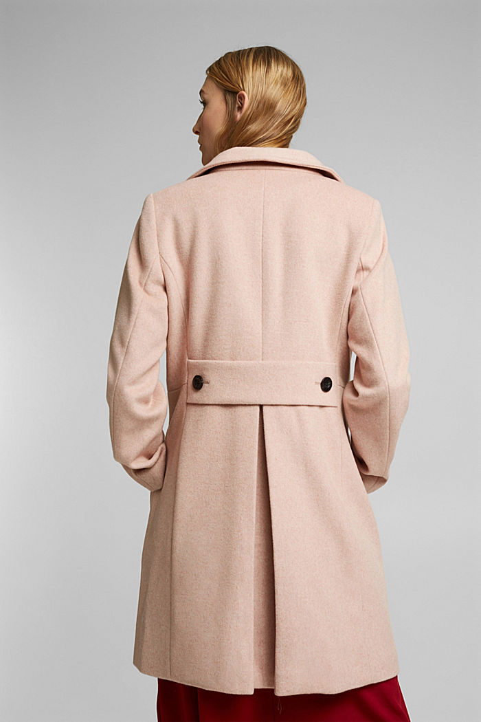 Made of blended wool: Coat with a stand-up collar, DUSTY NUDE, detail image number 3