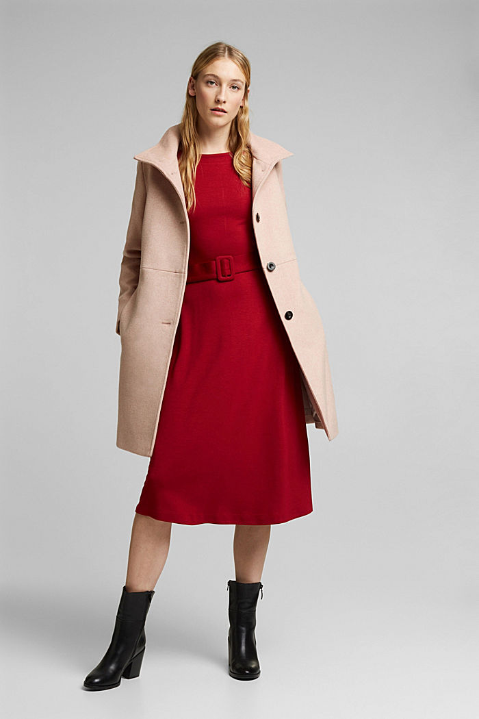 Made of blended wool: Coat with a stand-up collar, DUSTY NUDE, detail image number 1
