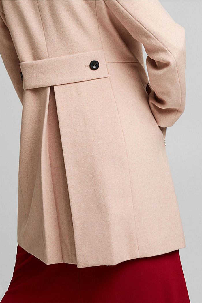 Made of blended wool: Coat with a stand-up collar, DUSTY NUDE, detail image number 5