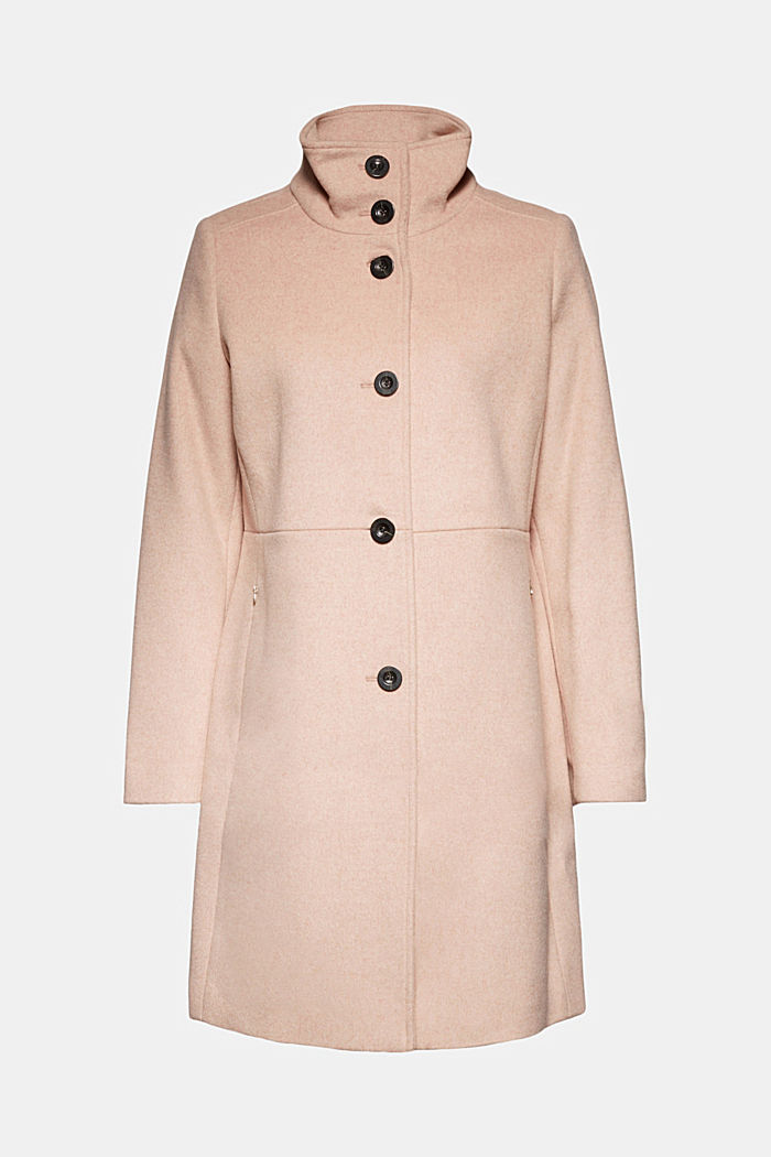 Made of blended wool: Coat with a stand-up collar, DUSTY NUDE, detail image number 6