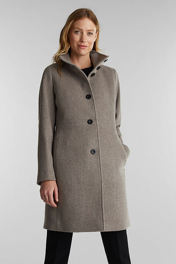 Blended wool: coat with a stand-up collar, TAUPE, detail image number 0