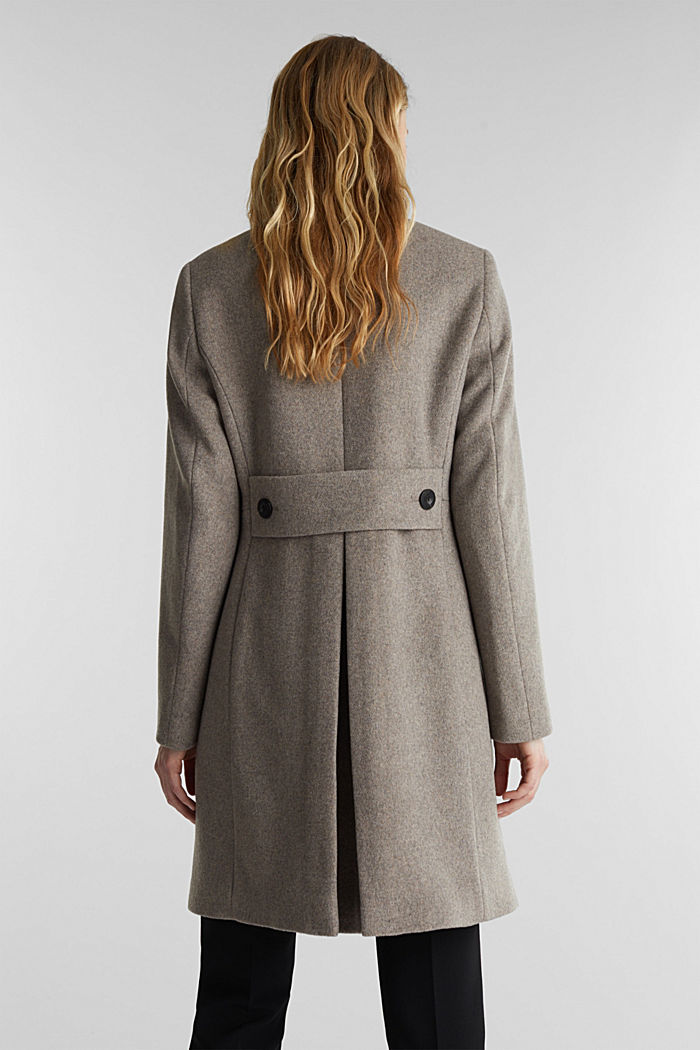 Blended wool: coat with a stand-up collar, TAUPE, detail image number 3