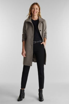 Blended wool: coat with a stand-up collar, TAUPE, detail