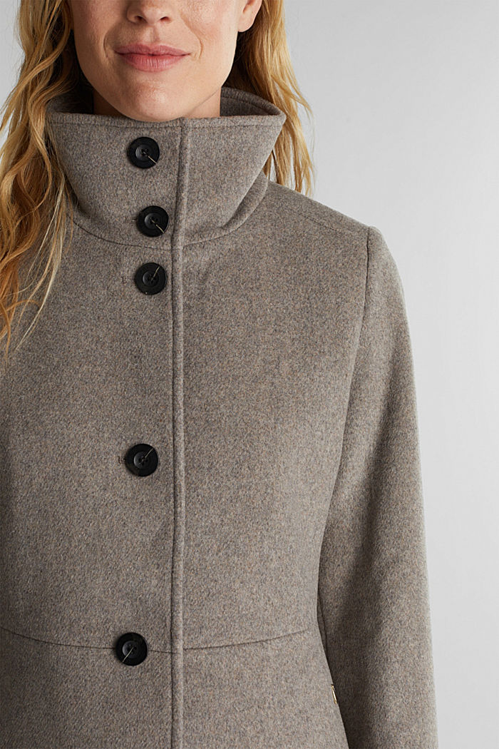 Blended wool: coat with a stand-up collar, TAUPE, detail image number 2