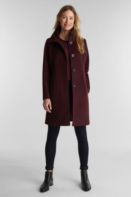 Made of blended wool: Coat with a stand-up collar, BORDEAUX RED, detail