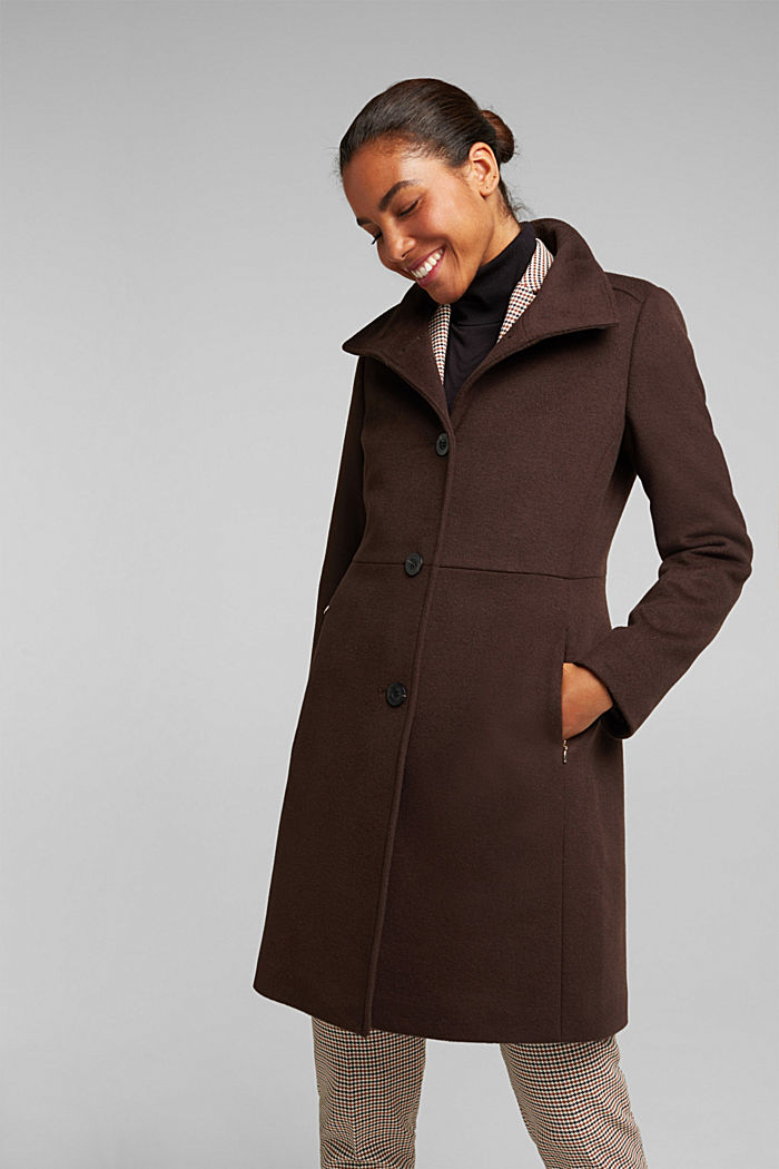 Made of blended wool: Coat with a stand-up collar, DARK BROWN, detail image number 0