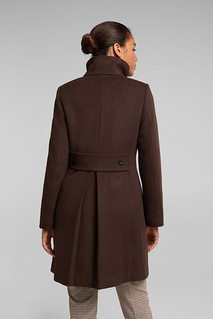 Made of blended wool: Coat with a stand-up collar, DARK BROWN, detail image number 3