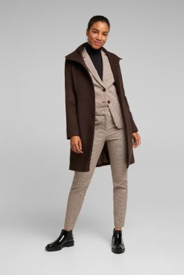 Made of blended wool: Coat with a stand-up collar, DARK BROWN, detail