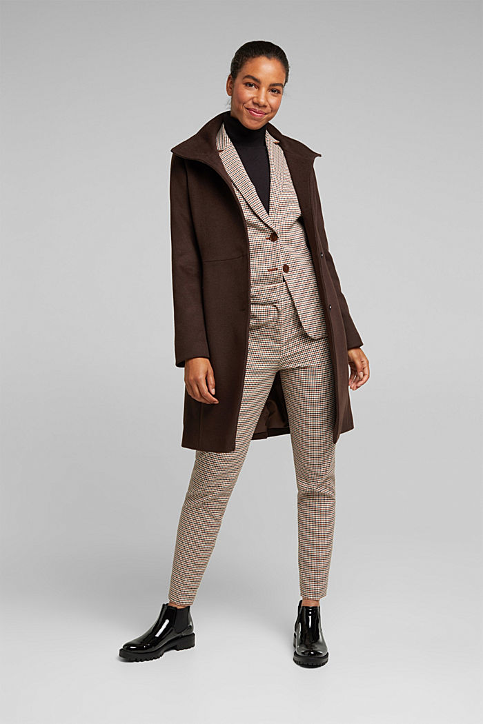 Made of blended wool: Coat with a stand-up collar, DARK BROWN, detail image number 1