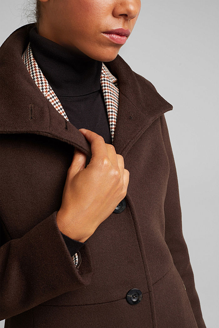 Made of blended wool: Coat with a stand-up collar, DARK BROWN, detail image number 2