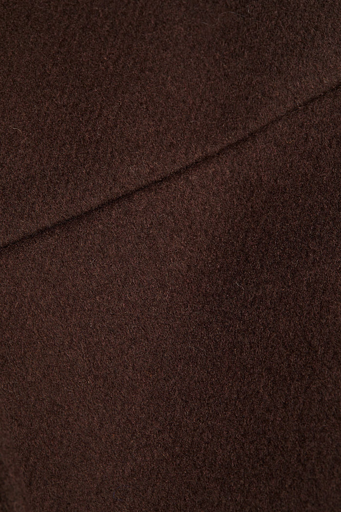 Made of blended wool: Coat with a stand-up collar, DARK BROWN, detail image number 4