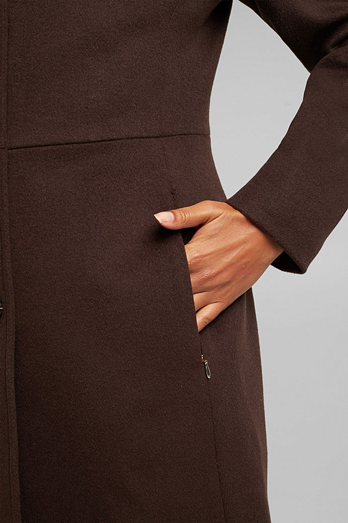 Made of blended wool: Coat with a stand-up collar, DARK BROWN, detail image number 5