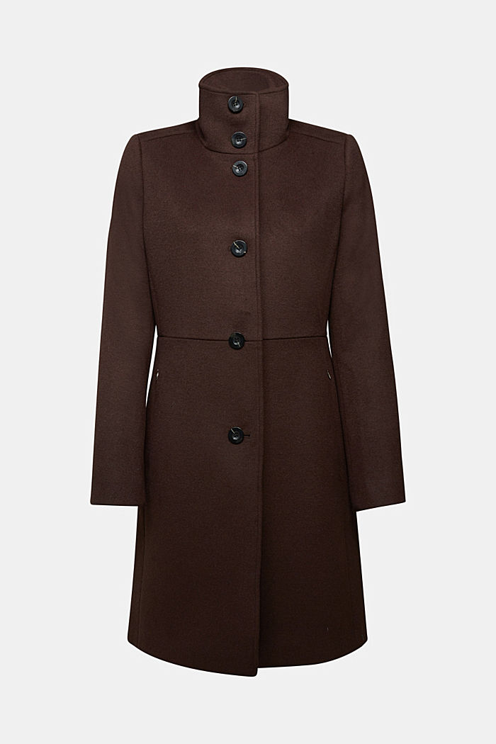 Made of blended wool: Coat with a stand-up collar, DARK BROWN, detail image number 6