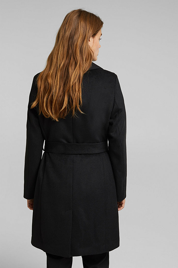 Wool blend: coat with lapel collar and tie-around belt, BLACK, detail image number 3