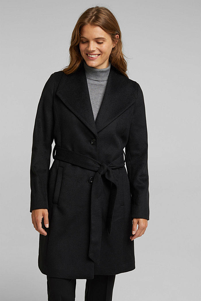 Wool blend: coat with lapel collar and tie-around belt, BLACK, detail image number 5