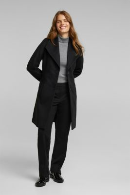 Wool blend: coat with lapel collar and tie-around belt, BLACK, detail