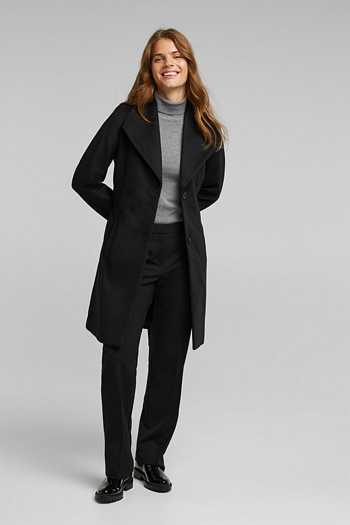 Wool blend: coat with lapel collar and tie-around belt, BLACK, detail image number 1