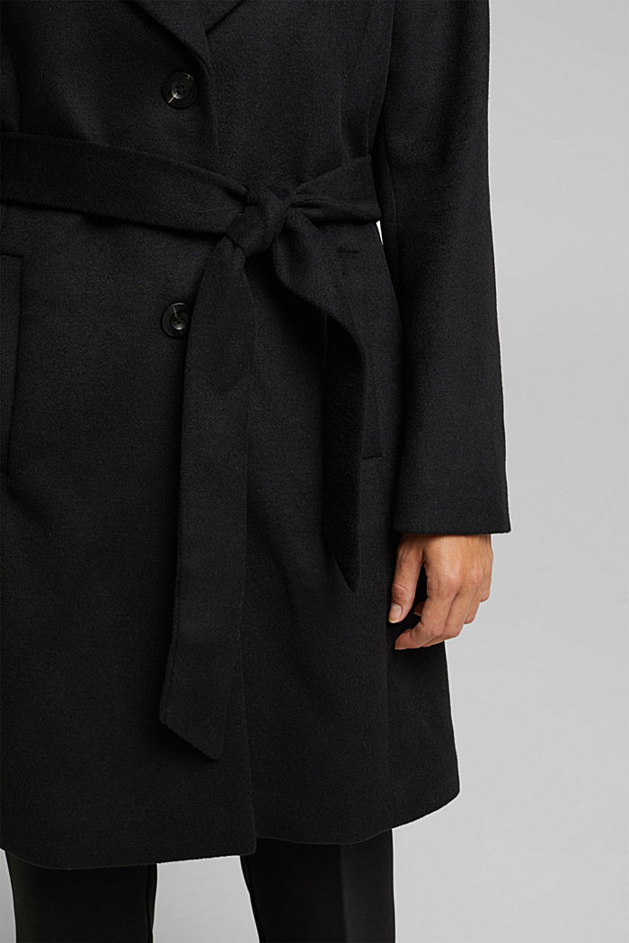 Wool blend: coat with lapel collar and tie-around belt, BLACK, detail image number 2