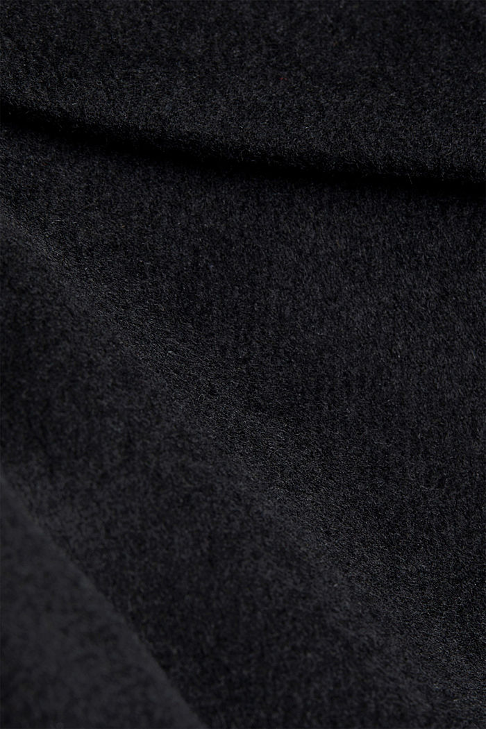 Wool blend: coat with lapel collar and tie-around belt, BLACK, detail image number 4