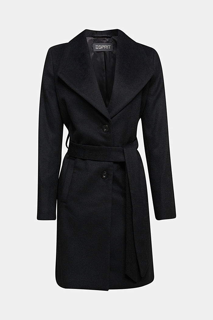 Wool blend: coat with lapel collar and tie-around belt