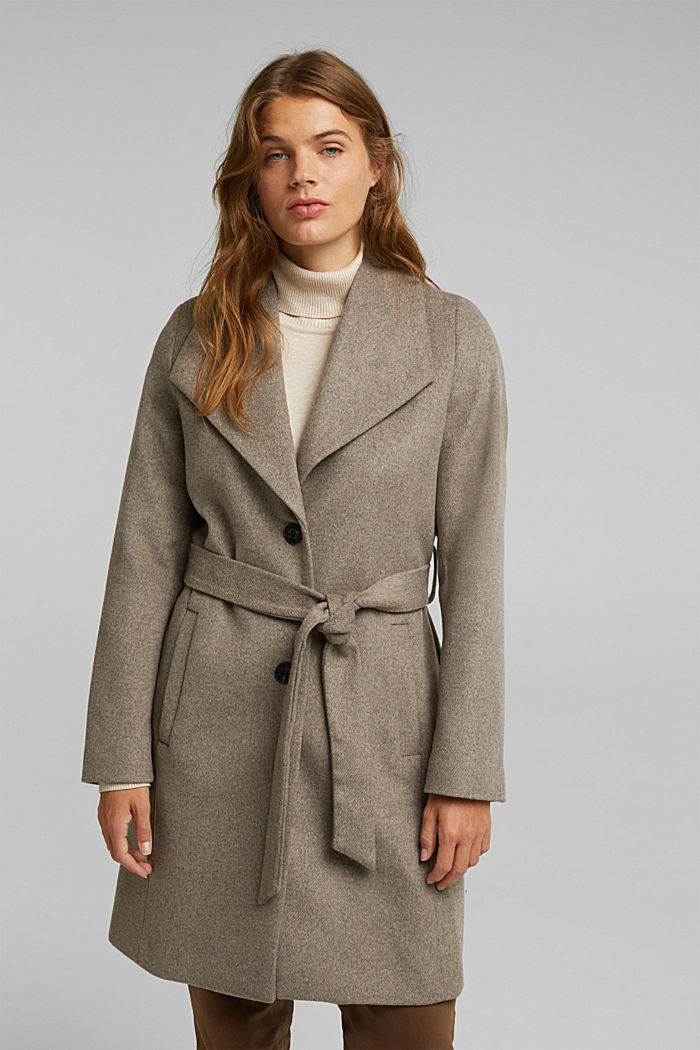 Wool blend: coat with lapel collar and tie-around belt, LIGHT TAUPE, detail image number 0