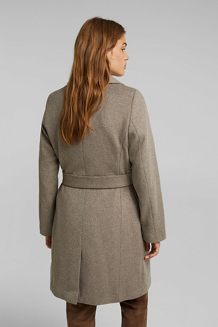 Wool blend: coat with lapel collar and tie-around belt, LIGHT TAUPE, detail image number 3