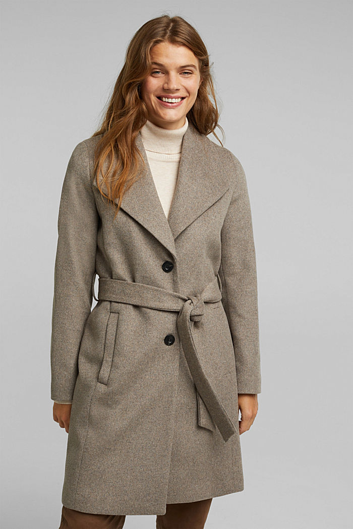 Wool blend: coat with lapel collar and tie-around belt, LIGHT TAUPE, detail image number 5