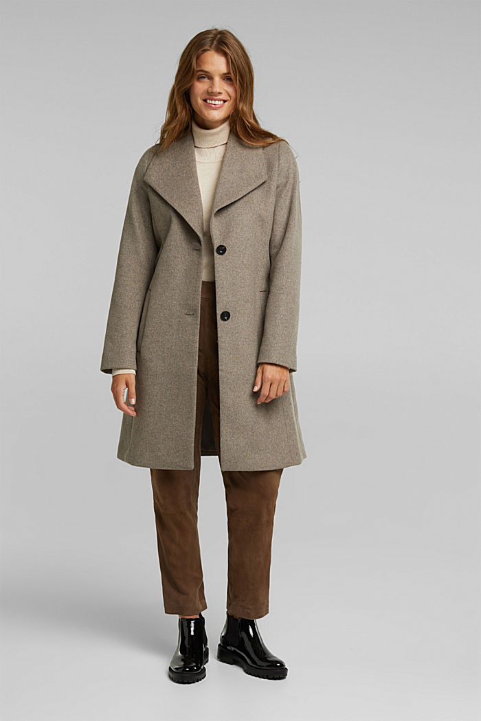 Wool blend: coat with lapel collar and tie-around belt, LIGHT TAUPE, detail image number 1