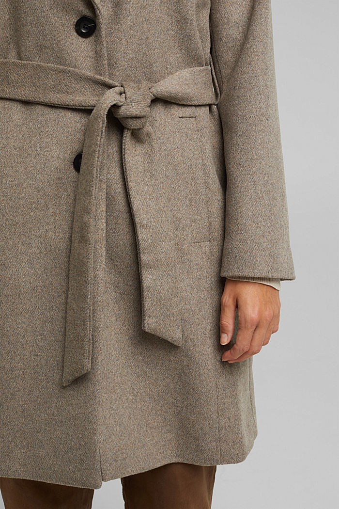 Wool blend: coat with lapel collar and tie-around belt, LIGHT TAUPE, detail image number 2