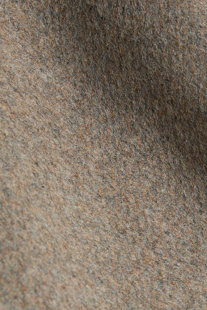 Wool blend: coat with lapel collar and tie-around belt, LIGHT TAUPE, detail image number 4