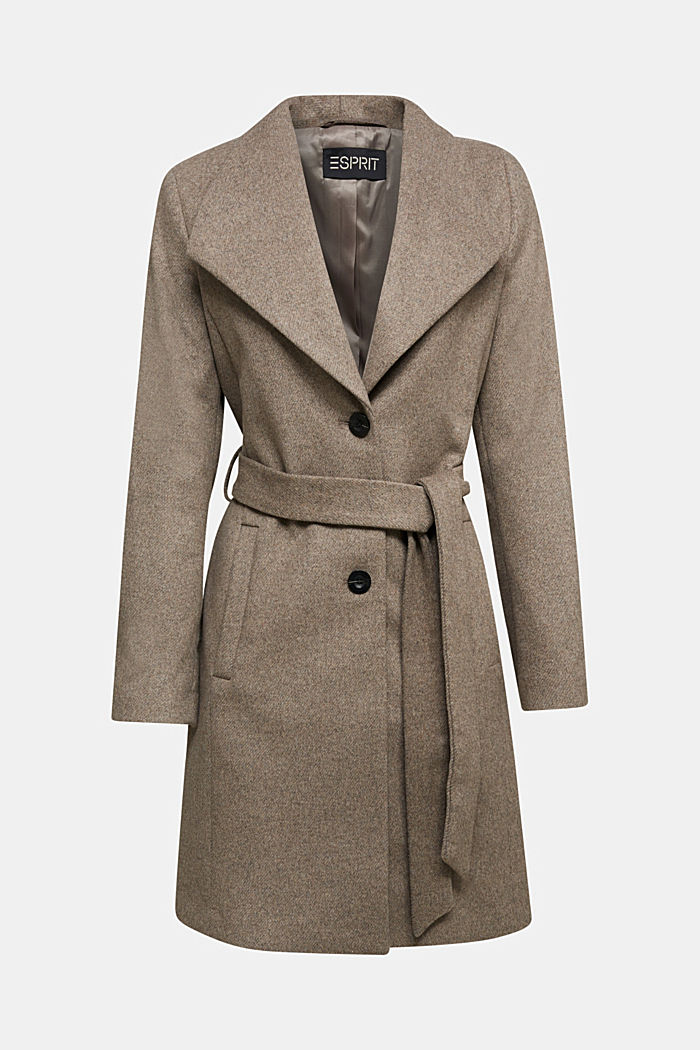Wool blend: coat with lapel collar and tie-around belt, LIGHT TAUPE, detail image number 6