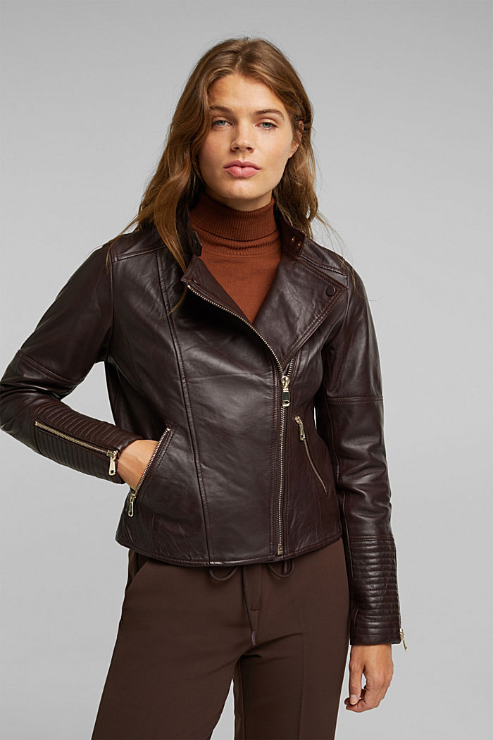Biker jacket made of 100% leather, BORDEAUX RED, detail image number 0