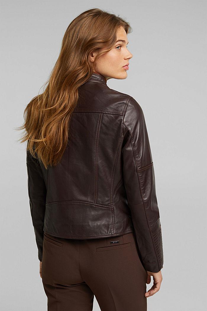 Biker jacket made of 100% leather, BORDEAUX RED, detail image number 3