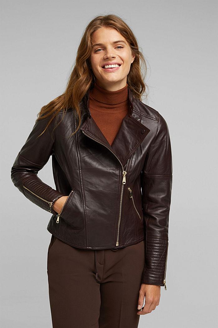 Biker jacket made of 100% leather, BORDEAUX RED, detail image number 5