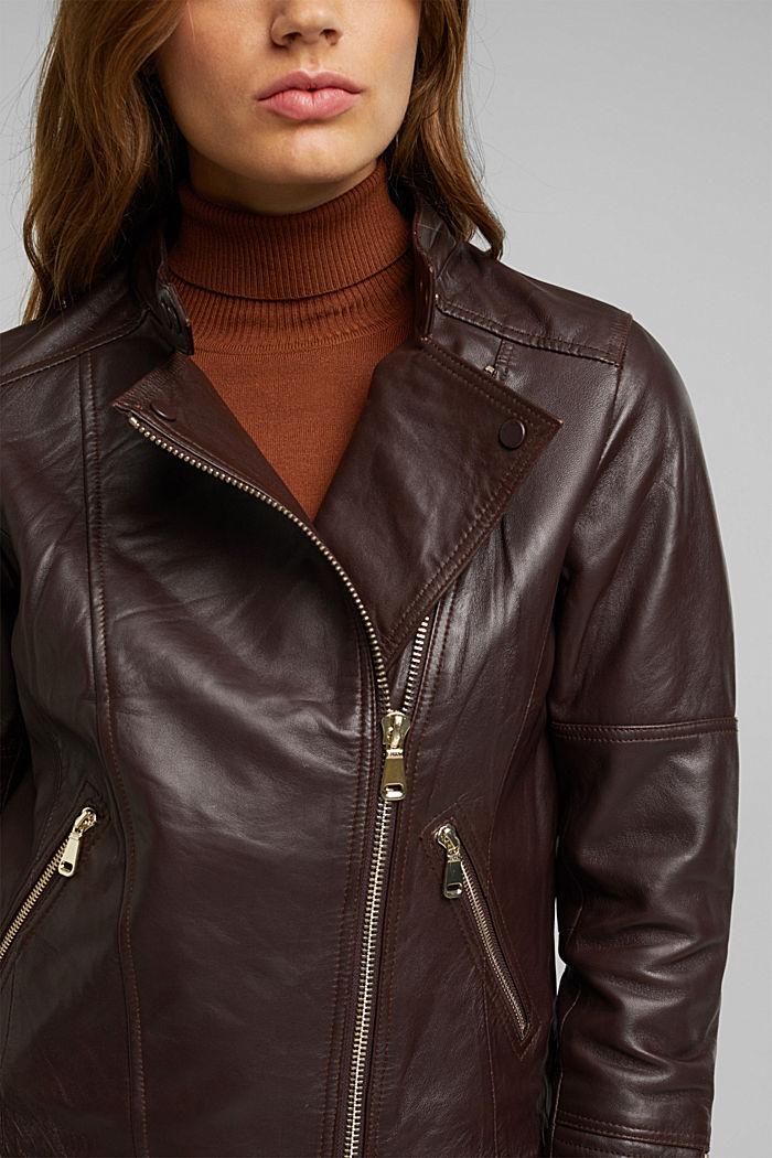 Biker jacket made of 100% leather, BORDEAUX RED, detail image number 2