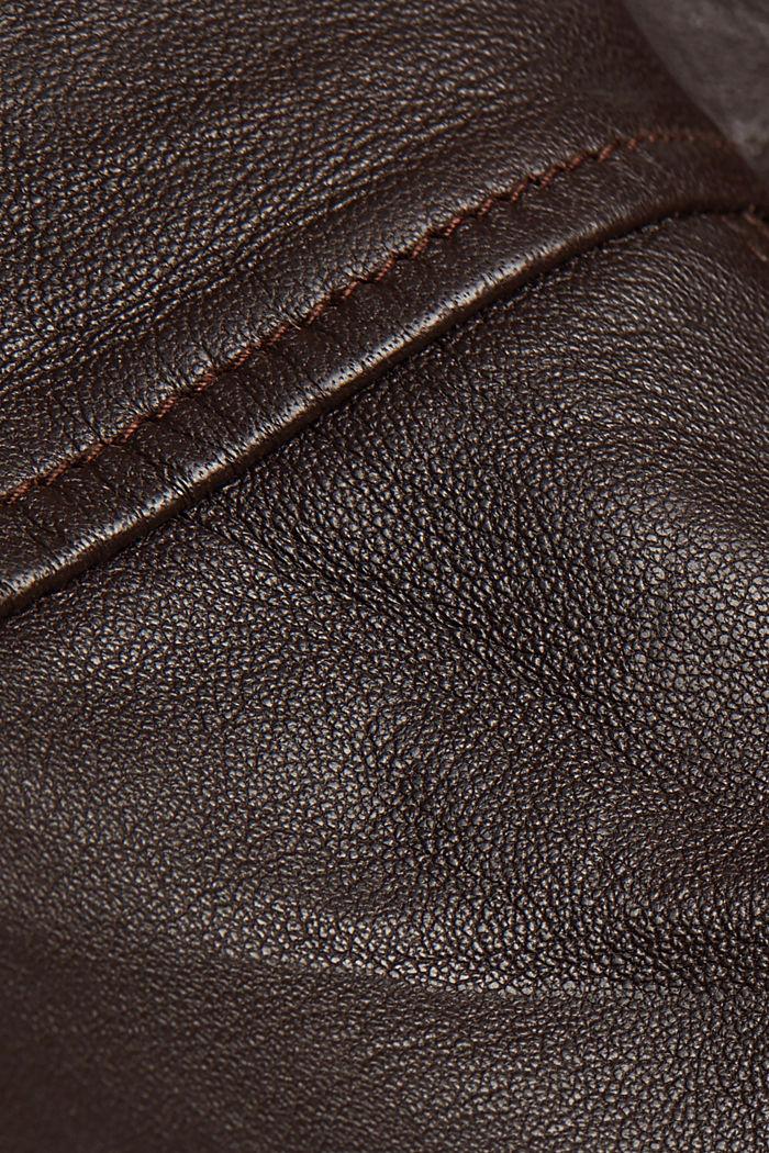 Biker jacket made of 100% leather, BORDEAUX RED, detail image number 4