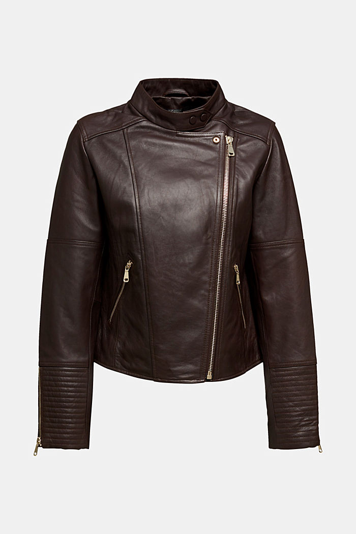 Biker jacket made of 100% leather, BORDEAUX RED, detail image number 6