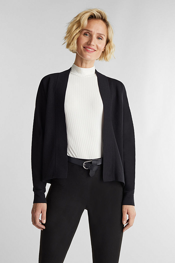 Open-fronted cardigan with cotton, BLACK, detail image number 0