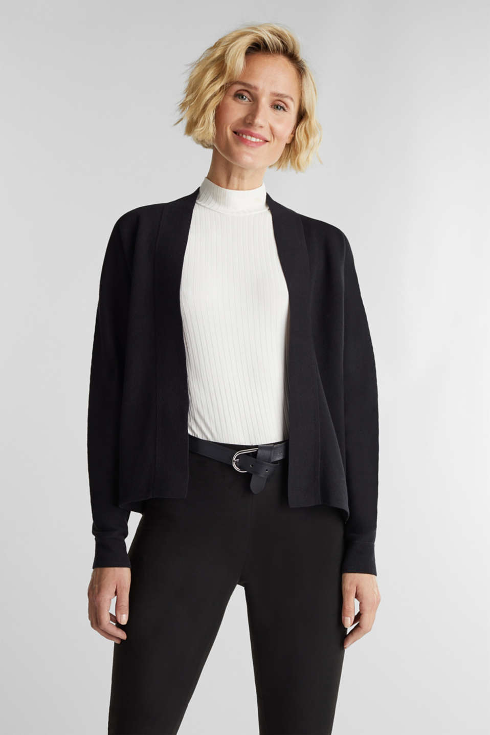 Esprit - Open-fronted cardigan with cotton