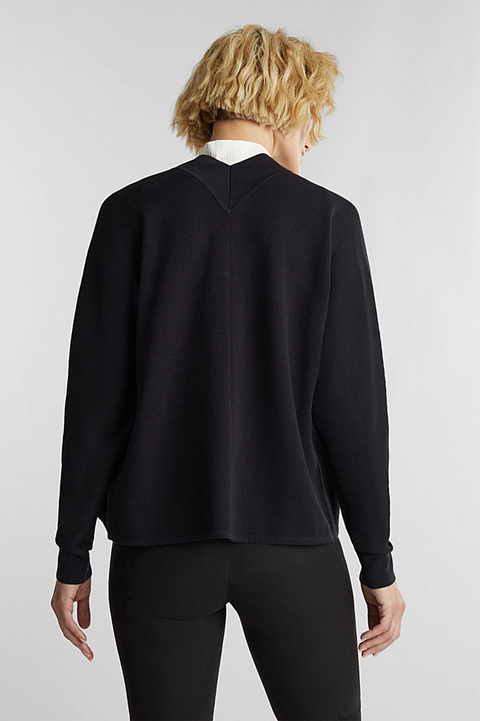 Open-fronted cardigan with cotton, BLACK, detail image number 3