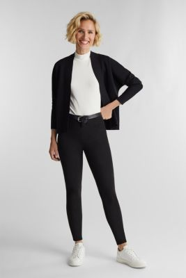 Open-fronted cardigan with cotton, BLACK, detail