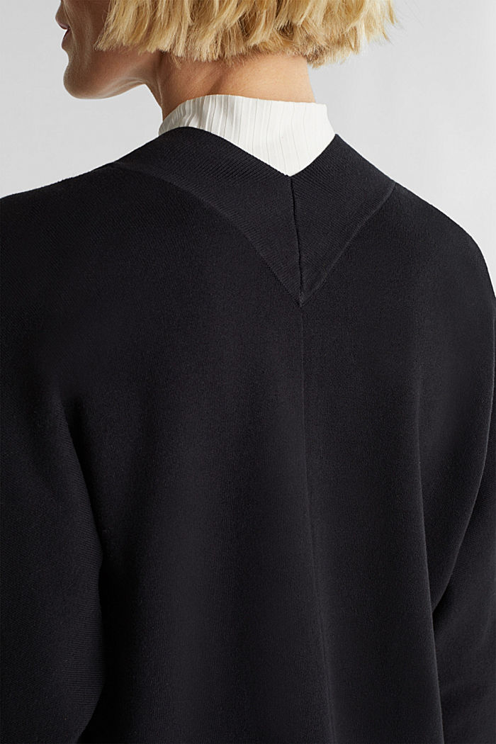 Open-fronted cardigan with cotton, BLACK, detail image number 2