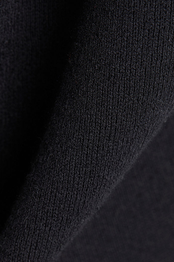 Open-fronted cardigan with cotton, BLACK, detail image number 4