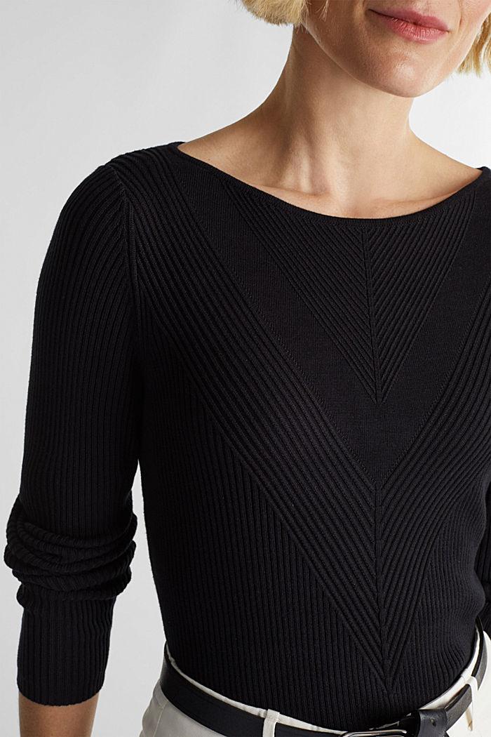 LENZING™ ECOVERO™ ribbed jumper, BLACK, detail image number 2