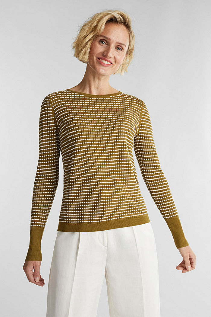 Textured jumper made of blended LENZING™ ECOVERO™, OLIVE, overview