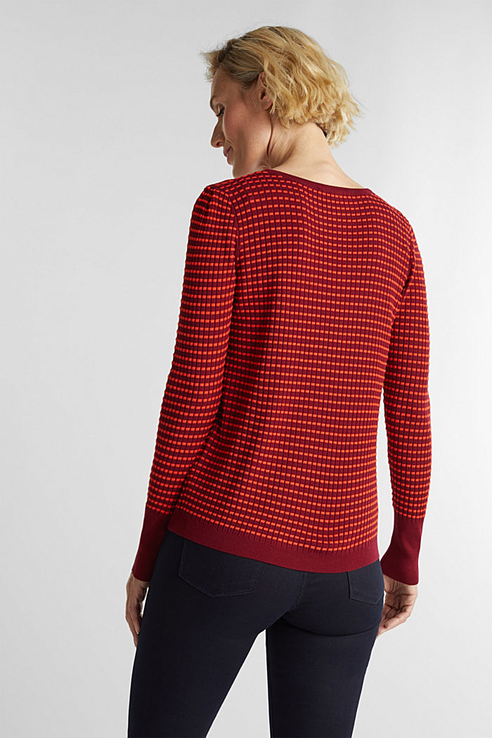 Textured jumper made of blended LENZING™ ECOVERO™, BORDEAUX RED, detail image number 3