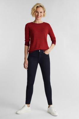Textured jumper made of blended LENZING™ ECOVERO™, BORDEAUX RED 4, detail