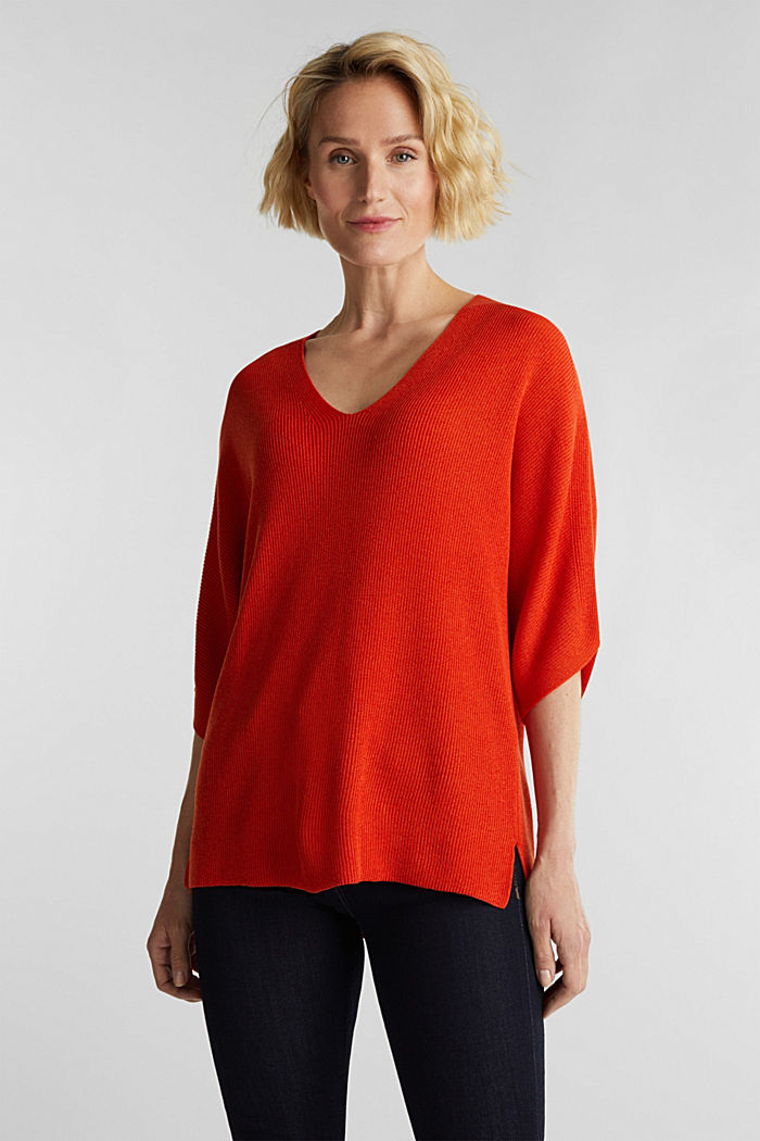 With TENCEL™: raglan jumper, RUST ORANGE, detail image number 0