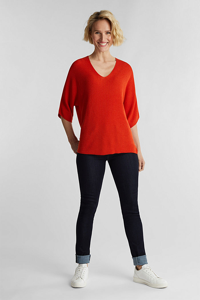 With TENCEL™: raglan jumper, RUST ORANGE, detail image number 1